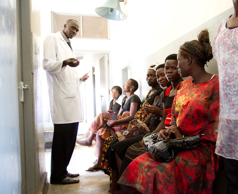 Women and children line up to be seen at the Soroti Referral Hospital. Hospital staff estimate that over 90% of all outpatients are diagnosed with malaria.